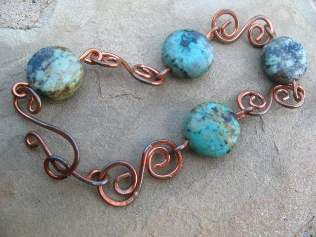 Handcrafted Copper Bracelet, Turquoise Bracelet