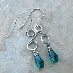 Green Earrings, Sterling Silver Wire Wrapped Earrings